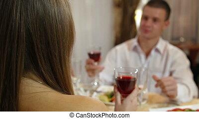 couple celebrating at restaurant