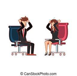 couple, chaise, bureau, business, séance