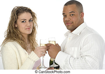 Couple Champagne - Atractive young couple with champange....
