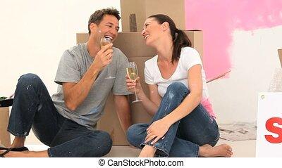 couple, champagne, boire, ensemble