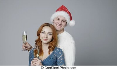 couple, champagne, jeune, lunettes