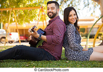 couple, chant, ensemble, dehors