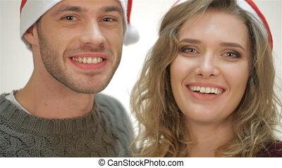 couple, chapeau, rire, santa, sourire