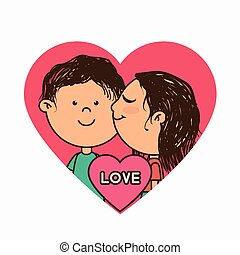 couple characters with heart love
