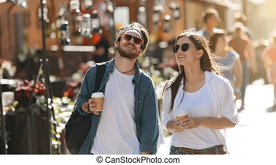 Couple Chatting as Strolling