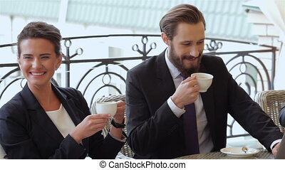 Couple chatting during a coffee break