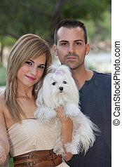 couple, chien, famille