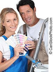 Couple choosing colours