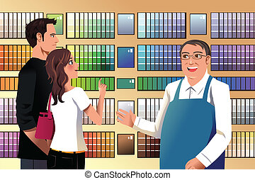Couple choosing paint - A vector illustration of couple...