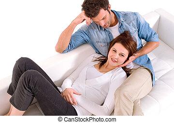 couple, choyer, divan