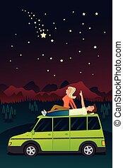 couple, ciel, étoiles, regarder