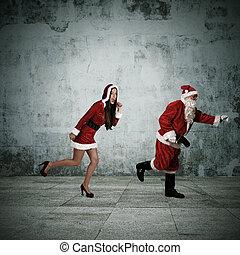 couple, claus, courant, santa