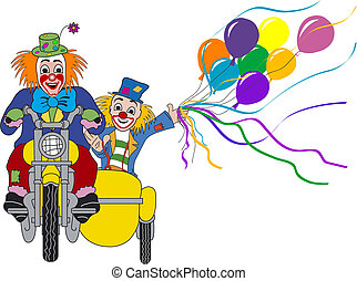 Couple clown - Two clowns on green motorcycle with sidecar