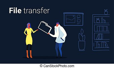 couple colleagues private data sharing casual man giving confidential documents folder to woman file transfer concept office interior sketch doodle horizontal