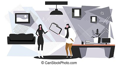 couple colleagues sharing private data business man giving confidential documents folder to woman file transfer concept office interior sketch horizontal full length