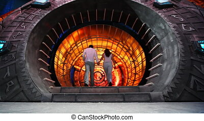 couple comes in fabulous decoration tunnel, then leaves