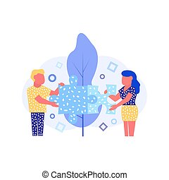 Couple concept Vector illustration in flat style