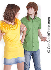 couple conflict - conflict situation between man and woman...