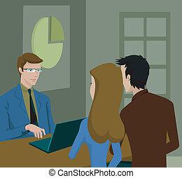 couple, consultation, avoir, finance, conseiller