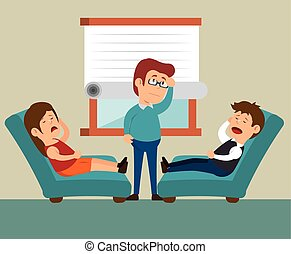 couple consultation office therapy vector illustration eps 10