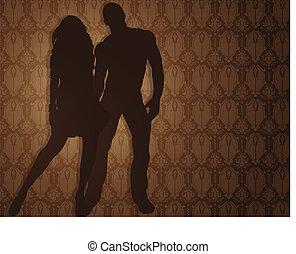couple, contre, sexy, damassé, arrière-plan.