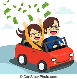Couple Convertible - Young happy rich couple riding on red...