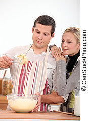 Couple cooking