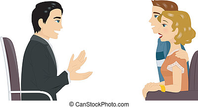 Couple Counseling - Illustration Featuring a Couple Getting...