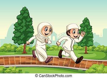 couple, courant, musulman, parc