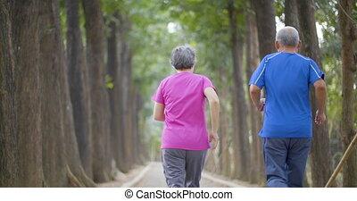 couple, courant, parc, personne agee, heureux