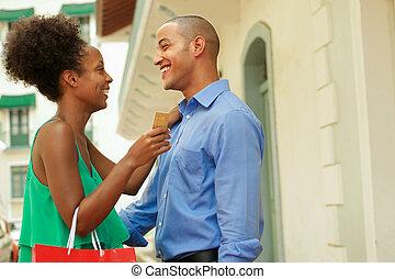couple, crédit, américain, tenue, africaine, panama, carte