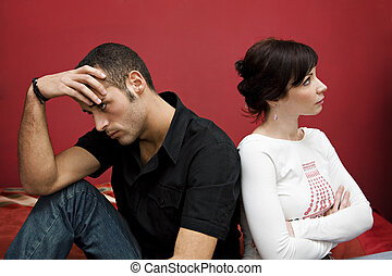 couple crisis - relationship difficulties: young couple...