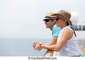couple, croisière, jeune, vacances