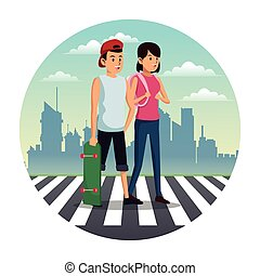 couple crossing street city background