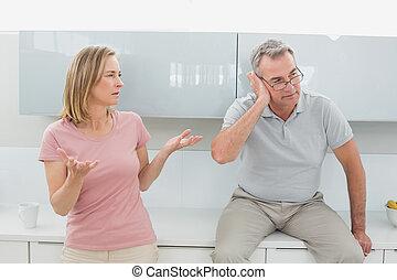 couple, cuisine, argument, avoir