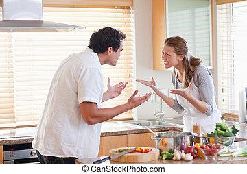 couple, cuisine, avoir, baston