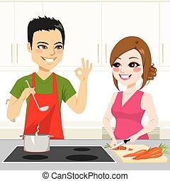couple, cuisine, ensemble