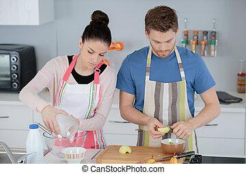 couple, cuisine, jeune