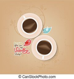 couple cup of coffee with valentine