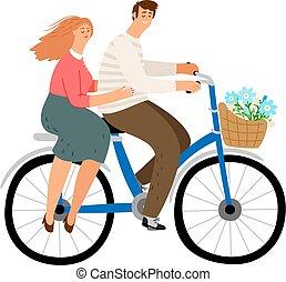 couple, cyclisme, ville