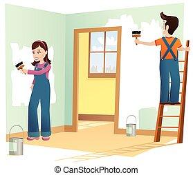 couple, décorer, maison