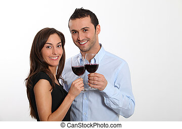 couple, dégustation, vin rouge