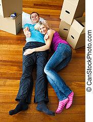 couple, délassant, plancher