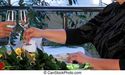 couple, dîne, mûrir, restaurant