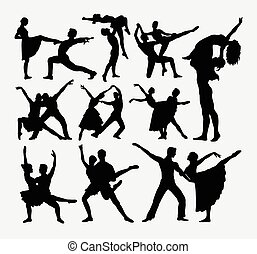 Couple dancer silhouettes