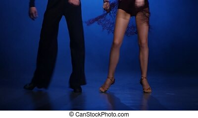 Couple dancers of salsa posing on the floor, blue background...