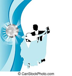 couple dancing a waltz on a blue background