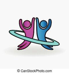 Couple dancing happy people logo