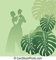 Couple dancing in a monstera garden. Tropical background. Retro style.