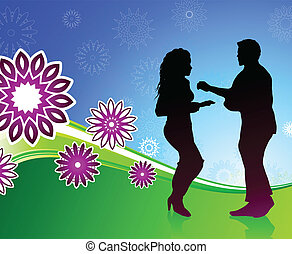 couple dancing on fun background